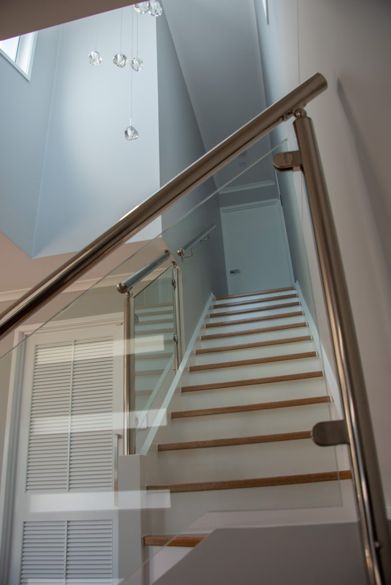 Bongaree Home Build Staircase with Glass Balustrade