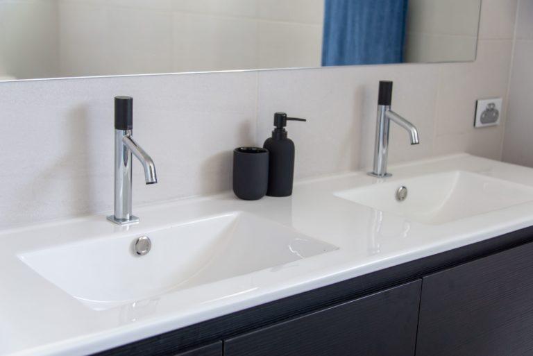 Bribie Island bathroom renovation modern dual sinks