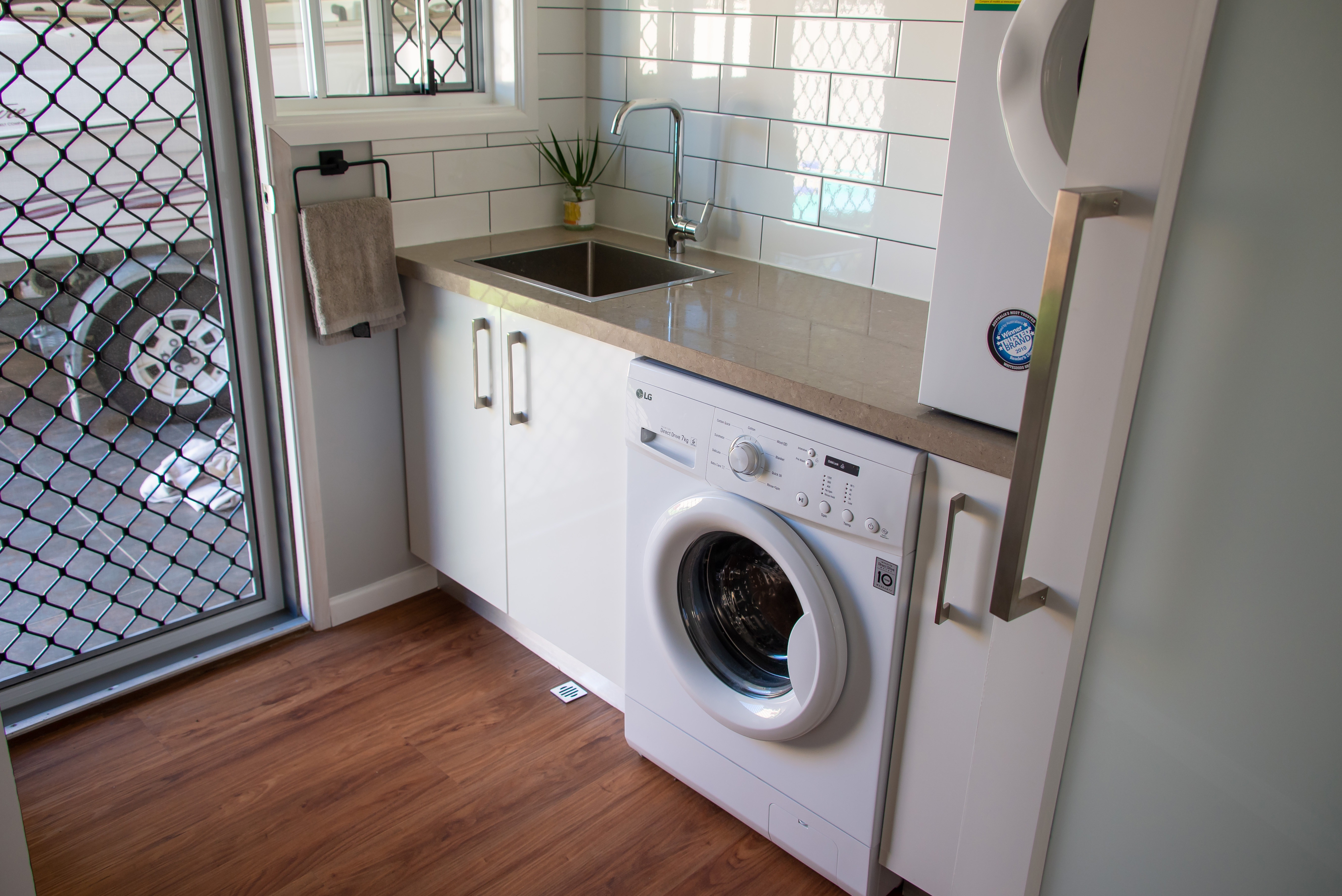 A completed modern laundry renovation
