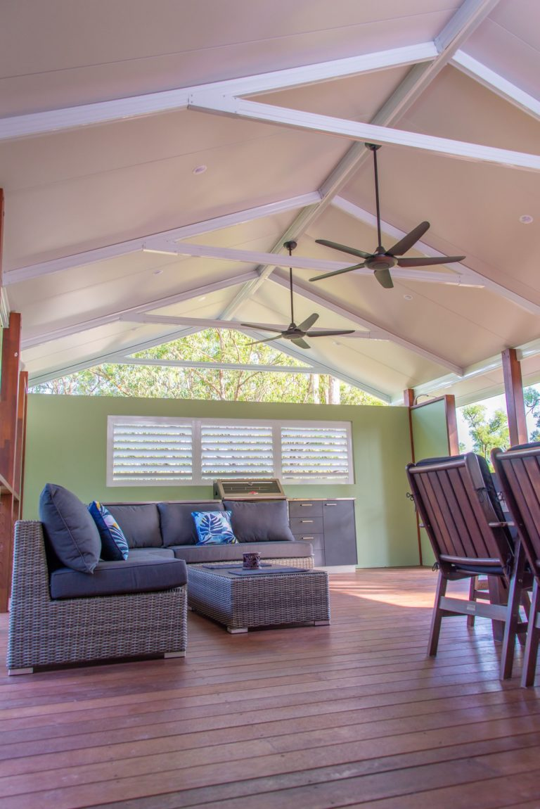 Warner deck extension view of daybed with ceiling fans