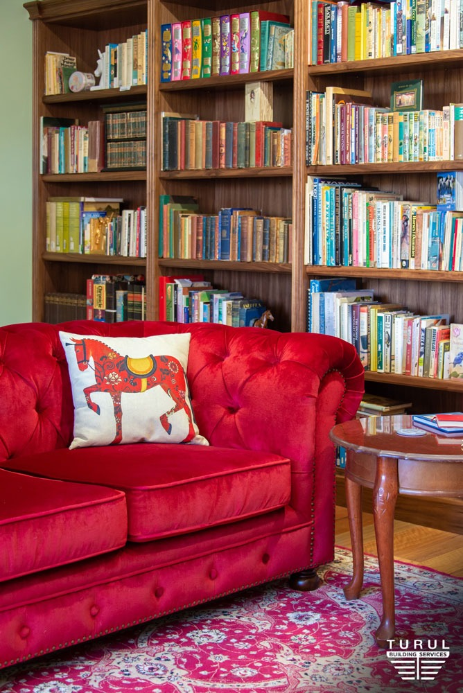 Burpengary Private Library Build - Couch and Stacked Bookshelves