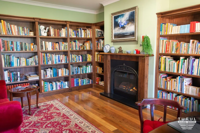 Burpengary Private Library Build Fireplace with Stacked Bookshelves