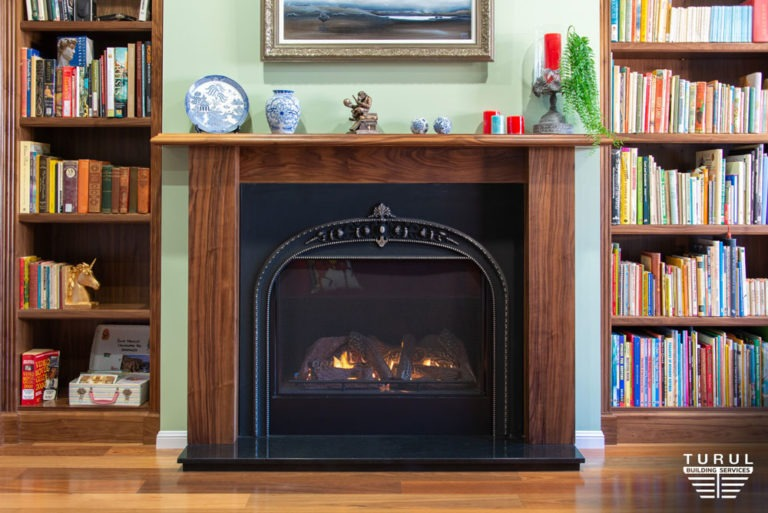 Burpengary Private Library Stylish Fireplace
